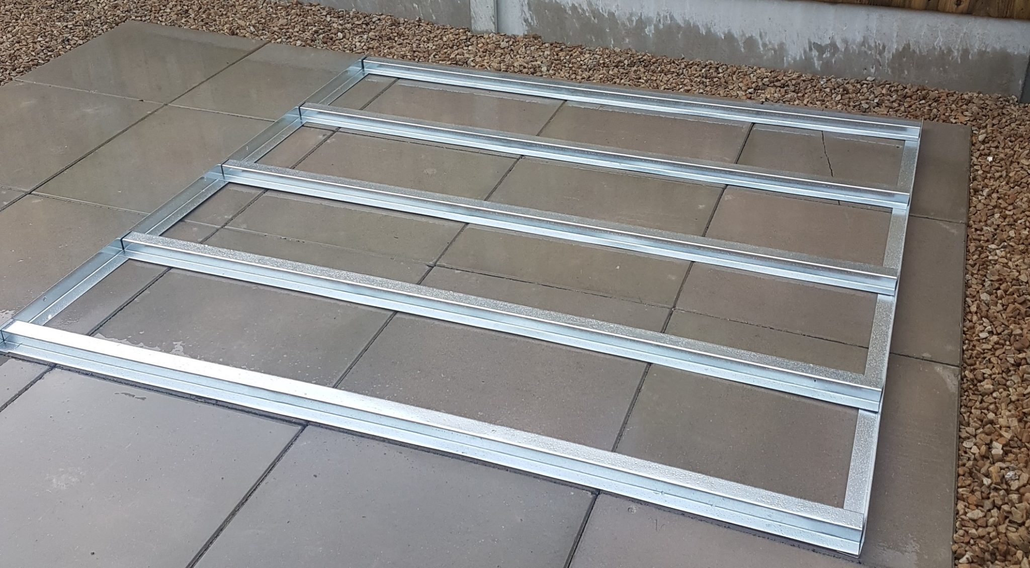 steel floor frames to suit our range of metal sheds and log stores. Suitable for all types of flooring such as wood planks, OSB sheeting, Aluminium check plate etc. (not included) Made from structural grade galvanized steel, these floor frames provide a solid base for your shed floor.